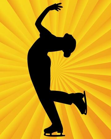 figure skater: figure skater on a yellow orange background