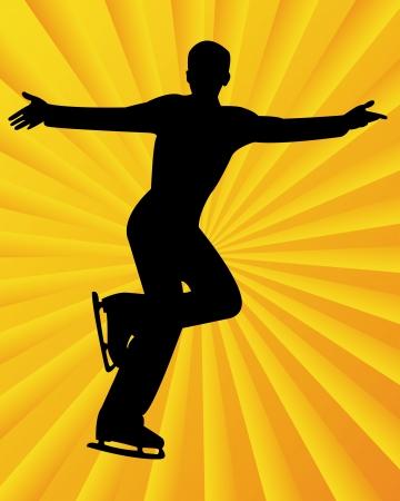 figure skater: figure skater on a yellow orange background  Illustration