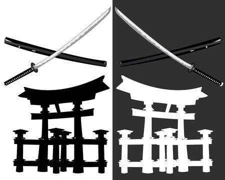itsukushima: Itsukushima katana and a black and white background