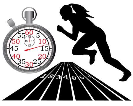 spurt: athletics track stopwatch on a white background