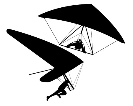 Two hang gliders on a white background