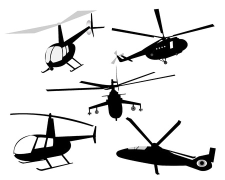 sikorsky: five helicopters on a white background