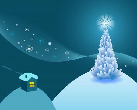 newyear: nuevo-a�o postal con una casa y fir-�rbol con una estrella