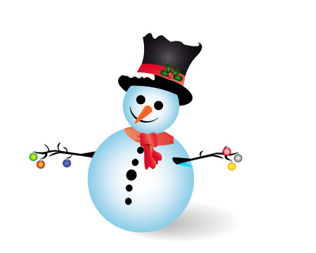 newyear: snow man with new-year toys on a white background Illustration