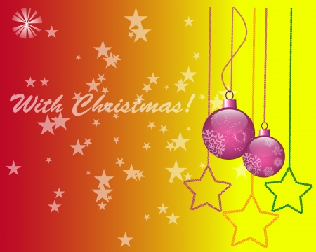 newyear: Christmas with new-year toys on red yellow background Illustration