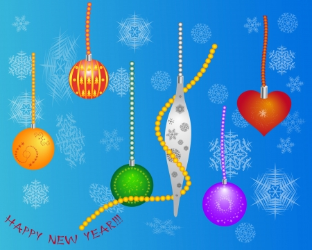newyear: new-year toys and snowflakes on a light brown background