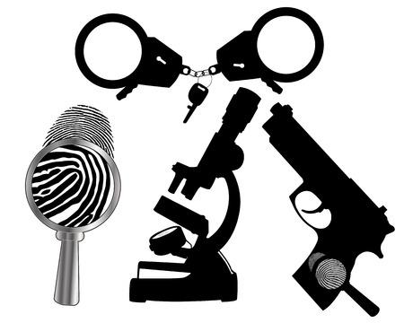 Forensic fingerprint magnifier gun handcuffs Иллюстрация