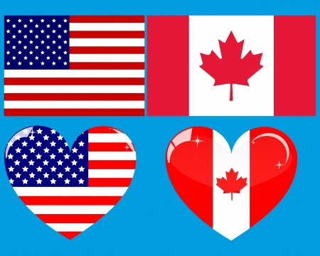 canada flag: two flags and two American Canadian heart on a white background
