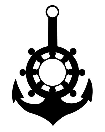 ship anchor on a white  Vector