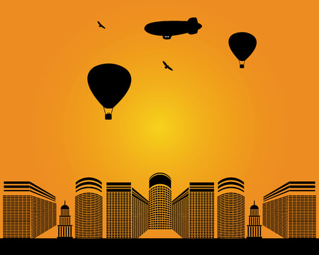 city  buildings: city  buildings zeppelin birds balloons on yellow background Illustration