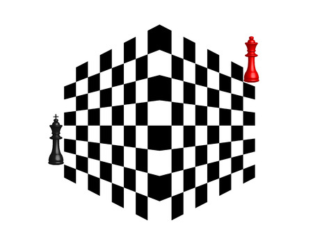 tactics: two chess pieces black and red on a white background