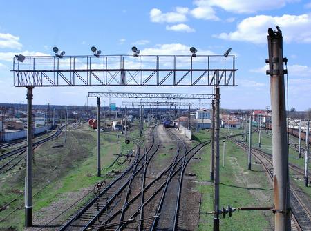 cautions:  railroad building wire poles