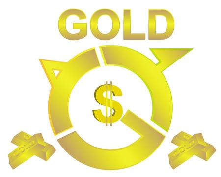 lingot or: barres de signe d'or du dollar sur un fond blanc