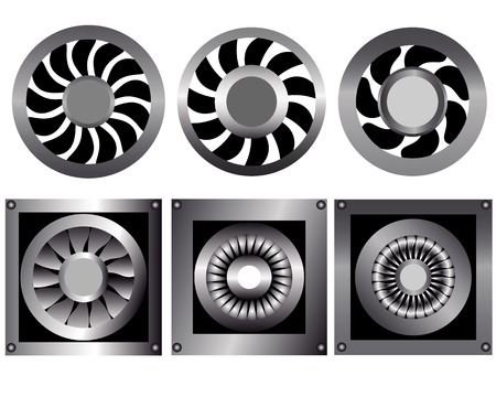 six fans to cool down on a white background Vector