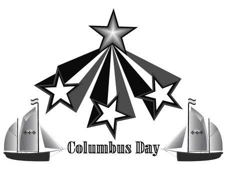 christopher columbus: Columbus Day holiday in America in shades of gray