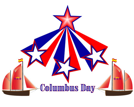 christopher columbus: Columbus Day holiday in America on a white background