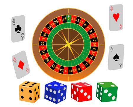 Roulette play cards and dice on a white background