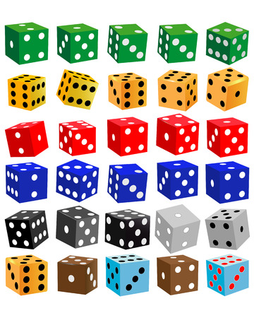 gaming dice of different colors on a white background
