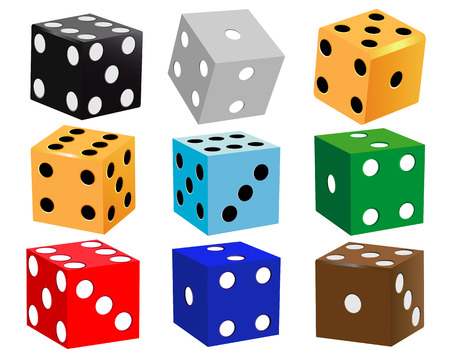 dice for games of different colors on a white background Illustration