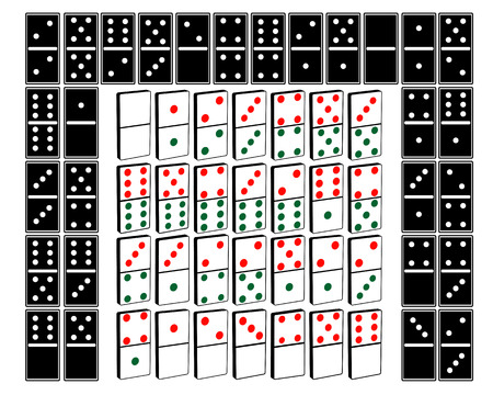 domino games for different types on a white background Vector