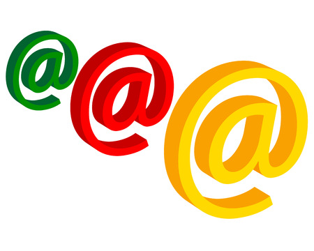 e  mail: e mail in different colors on a white background
