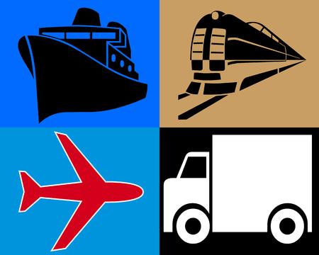 Transporte terrestre por mar y aire diferentes orígenes
