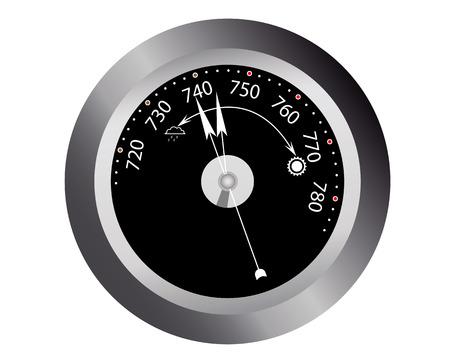 barometer readings for atmospheric pressure on a white background Illustration