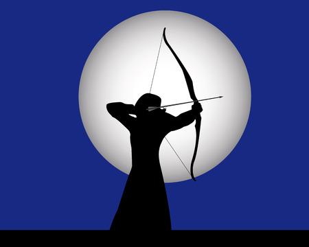 tiro con arco arquero femenina sobre un fondo azul oscuro