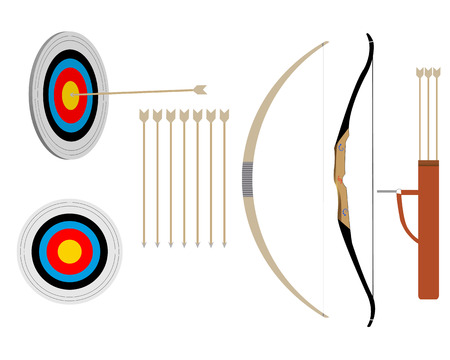 targets: two bows and arrows and targets on a white background