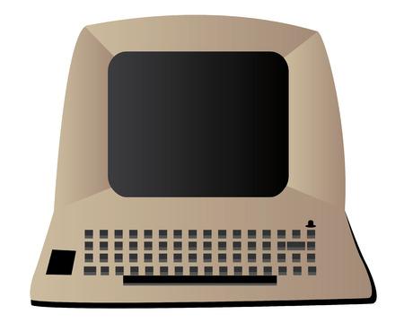 viejo ordenador en un fondo blanco
