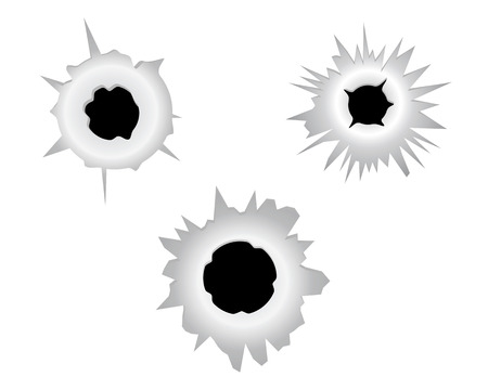 ricochet: three bullet holes on a white background Illustration