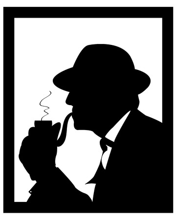 man in a hat smoking a pipe on a white background Vector