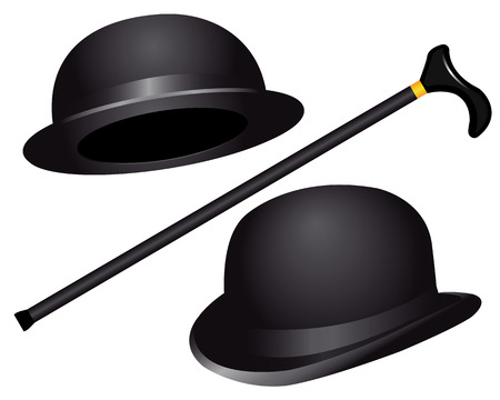 derby hat: two hats and cane on white background Illustration