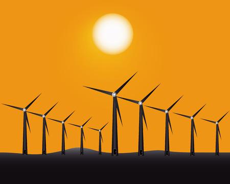 alternatively: mulini a vento per la produzione di energia su uno sfondo giallo Vettoriali