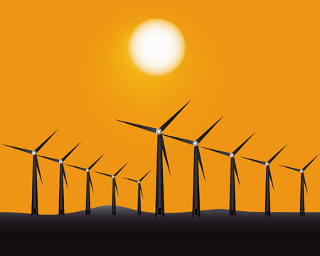 alternatively: windmills for generating energy on a yellow background