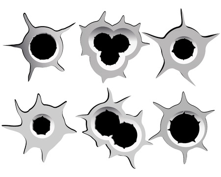 different bullet holes on a white background