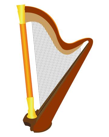 húros: húros hangszer, hárfa, fehér alapon Illusztráció
