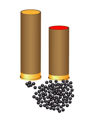 탄약: hunting ammunition and shot on a white background 일러스트