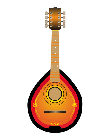 húros: Mandalina húros hangszer, fehér alapon