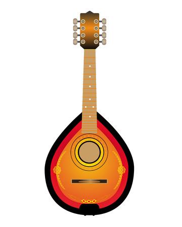 frets: Mandalina instrumento de cuerda sobre un fondo blanco Vectores