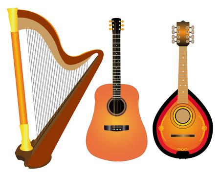 húros: vonós hangszerek hárfa gitár Mandalina fehér alapon