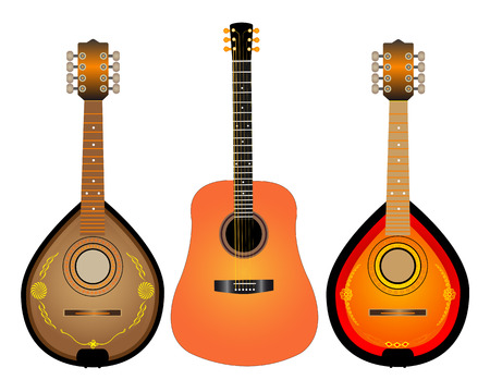 stringed instruments guitar and two mandalina on white background