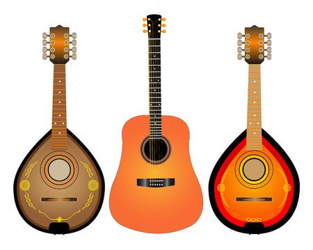 húros: vonós hangszerek gitár és két Mandalina fehér alapon Illusztráció