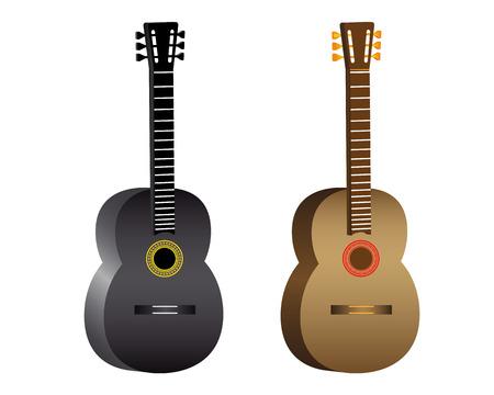 frets: dos de la guitarra ac�stica en el fondo blanco