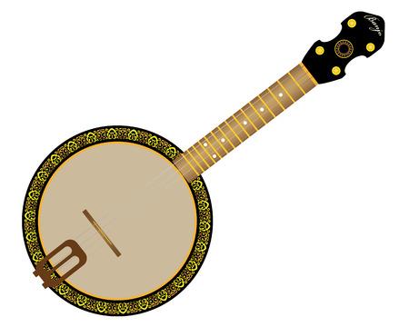 virtuoso: banjo string instrument on a white background