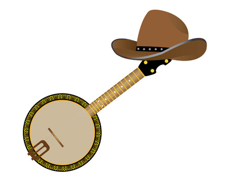 plucking an instrument: banjo and a cowboy hat on a white background