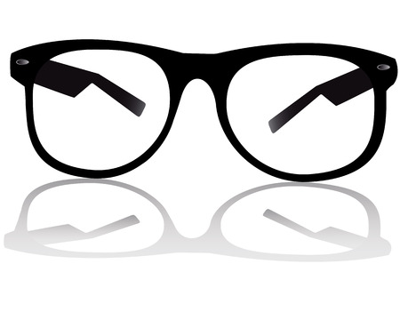 personal accessory: black glasses for sight on white background with shadow