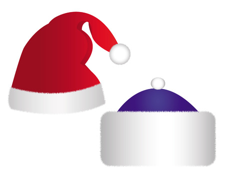 two caps of Santa Claus in different colors on a white background Vector