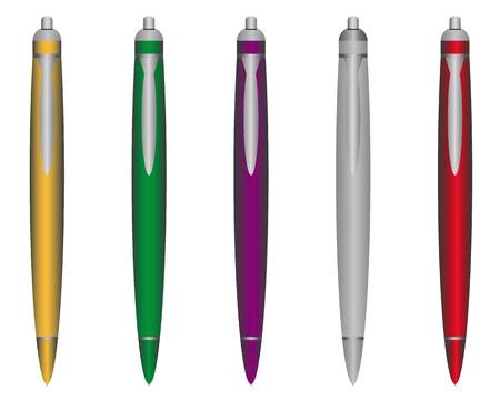 chromatique: stylos � billes de diff�rentes couleurs sur un fond blanc