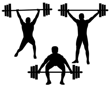 weightlifters in different poses on a white background Vector